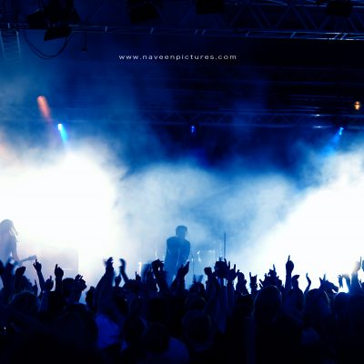 Silhouettes of crowd in a concert