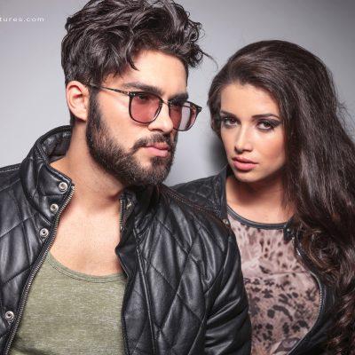 Young fashion couple posing